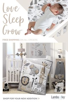 This six-piece crib bedding set includes one quilt, two fitted crib sheets, one crib skirt, one wearable blanket (recommended for safe sleep), and a set of wall decals to complete your nursery decor. The neutral color palette makes it perfect for boys or girls!