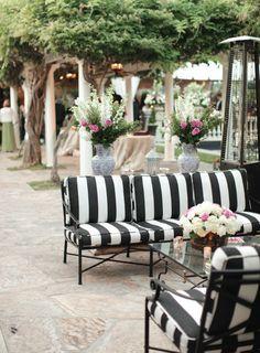 Backyard Pasadena Wedding From Desi Baytan Photography. Striped  CouchStriped CushionsBlack White WeddingsStriped FurnitureWhite Patio ...