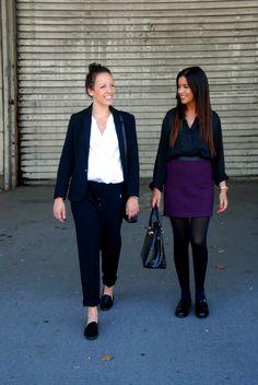 Twee outfits voor het werk: mocassins in combinatie met lange broek en bloes of rok en bloes (of een kleedje)