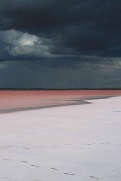 Dark sky, pink beach
