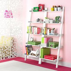 White Linea Leaning Bookcase   The Container Store for R's room