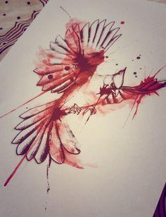 Cardinal bird watercolor tattoo design