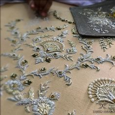 The flawless materials and ancient techniques that make Boca do Lobo unique. Zardosi Embroidery, Tambour Embroidery, Bead Embroidery Patterns, Hand Work Embroidery, Couture Embroidery, Embroidery Fashion, Hand Embroidery Designs, Beaded Embroidery, Floral Embroidery