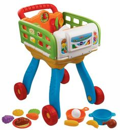 VTech 2-in-1 Shop and Cook Playset. This is a 2-in-1 toy. It can transforms from shopping cart to kitchen.