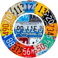 Vintage license plates wall decal for use as a clock face, perfect for a garage or man cave. Made in the USA. Made of matte polyester fabric, this retro wall sticker is easy to apply to most flat surfaces. Available in 12