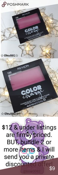Limited Edition Color Charge Blush FIRM $ OR 3/$20 Revlon Color Charge blush in 100 hot cheeks Limited Edition blush supercharged with bright color  Lowest price.  Mix and Match with any $8 listibgs - 3 for $20 Revlon Makeup Blush