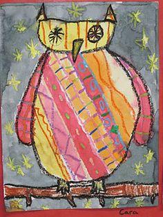 Lines, Dots, and Doodles: Patterned Owls, Grade Line Art Lesson, Art Lesson Plans, Elementary Art Rooms, Art Lessons Elementary, Black Crayon, Owl Kids, Student Drawing, Kindergarten Art, Teaching Art