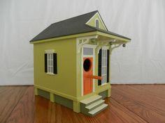 New Orleans Shotgun Birdhouse - Lime Green & Orange Color