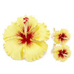 Yellow Hawaiian Hibiscus Swarovski Crystal Flower Pin Brooch And Earrings Gift Set