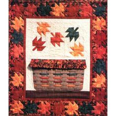 Maple Leaf Basket Fall Autumn Wall Hanging Quilt