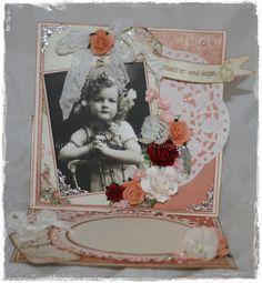 Gunns Papirpyssel, staffeli kort, card, bursdag, birthday, Pion Design, papirbretting, paperfolding, vintage, papir, paper, scrapbooking, scrapping