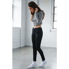 Bullhead Denim Co. Night Cap Black High Rise Skinny Jeans (405 NOK) ❤ liked on Polyvore
