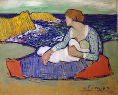 1901-Madre e hija en la playa (maternidad)