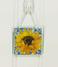 Little Sunflower Ornament, Summer Garden Golden and Blue Miniature Art Wall Hanging by #NaturesWalkStudio on Etsy