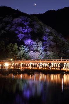Togetsukyo Bridge Illumination in Arashiyama, Kyoto, Japan 京都 嵐山花灯路