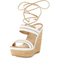 Stuart Weitzman Abandon Leather Ankle-Wrap Wedge Sandal ($565) ❤ liked on Polyvore featuring shoes, sandals, white, leather flats, leather sandals, platform sandals, platform wedge sandals and white leather sandals
