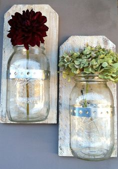 Set of 2 Rustic Wood 24 oz. Mason Jar Sconces / Vases / Storage Containers. $39.00, via Etsy.