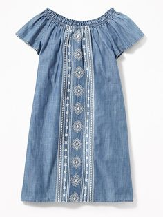 $24 Old Navy - Embroidered Chambray Shift Dress for Girls