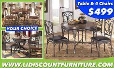 Table & 4 Chairs.... YOUR CHOICE $499 WWW.LONGISLANDDISCOUNTFURNITURE.COM