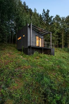 Etno Hut is a Tiny Cabin on the Edge of a Forest in Lithuania by Utopium - charles wolford - Tiny Cabins, Tiny House Cabin, Cabin Design, Tiny House Design, Concrete Siding, Casas Containers, Container Cabin, Forest House, Forest Cabin
