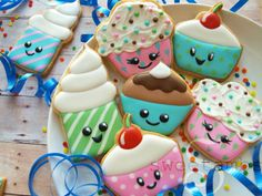 I don't know how I went this long without owning any cupcake cookie cutters. I recently found a set at HomeGoods, which is what inspired me to make these cookies. While HomeGoods is one of my favorite places to buy fun baking supplies, it is hit or m