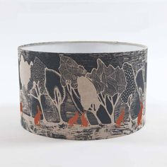 Large Linen Lampshade Woodland With Hares