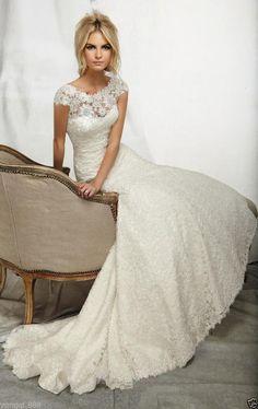 New white/ivory wedding dress Mermaid Trumpet custom size 2-4-6-8-10-12-14-16+++