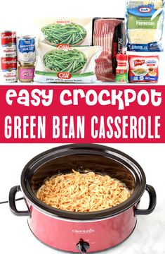 Thanksgiving Recipes: Easy Green Bean Side Dishes! This rich and savory green bean casserole will be the talk of the dinner, thanks to the extra little ingredinet... bacon! Trust me... it's such a game changer! Go grab the recipe and give it a try this holiday season! Thanksgiving Green Bean Casserole, Easy Thanksgiving Recipes, Thanksgiving Meal, Christmas Recipes, Easy Dinner Recipes, Fall Recipes, Dinner Ideas, Crockpot Side Dishes, Side Dishes Easy