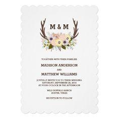 Floral Antlers | Wedding Invitation