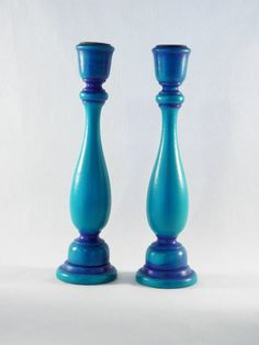 Wood Candleholders Hand Painted By Colorincorporated On Etsy, $16.00