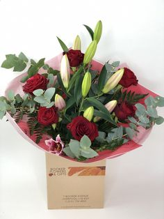 Valentine Naomi Red Rose and Pink Lily Hand tied Bouquet: Booker Flowers and Gifts I Love You Balloons, Love Balloon, Romantic Flowers, Beautiful Flowers, Dozen Red Roses, Pink Rose Bouquet, Hand Tied Bouquet, Rose Gift, Valentines Flowers