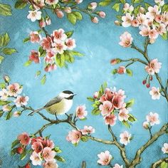 4 x Single Luxury Paper Napkins for Decoupage and Craft Blossom