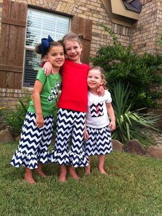 Girls Navy Chevron Applique Shirt and Skirt by thehappyhoneysuckle, $36.00