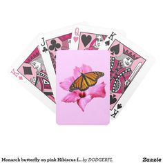 Monarch butterfly on pink Hibiscus flower Bicycle Playing Cards