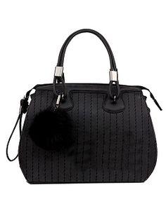 Shop Black Buckle Handle Zipper Ball Detail Bag from choies.com .Free shipping Worldwide.$55.9