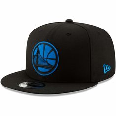 e5b72f0467359 Men s Golden State Warriors New Era Black Blue Logo Neon Pop 9FIFTY  Adjustable Snapback Hat