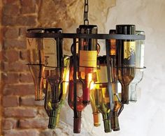 Upcycled wine bottle chandelier