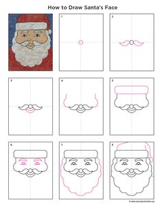 Art Projects for Kids: How to Draw Santa's Face - keep the kids busy with art activities at the Christmas fayre Christmas Art Projects, Winter Art Projects, Projects For Kids, Christmas Drawings For Kids, Drawing Lessons, Art Lessons, How To Draw Santa, Directed Drawing, Santa Face