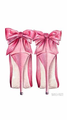 Pretty drawing of pink pumps with bow accent