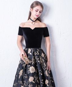 Black off shoulder long prom dress, black evening dress
