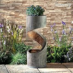 48 Stunning Outdoor Water Fountains Ideas Best For Garden Landscaping - Trendehouse - Serenity Spiral Cascade Water Feature Planter LED Garden Fountain Ornament Contemporary Water Feature, Diy Water Feature, Backyard Water Feature, Indoor Water Features, Small Water Features, Water Features In The Garden, Garden Water Fountains, Fountain Garden, Diy Water Fountain
