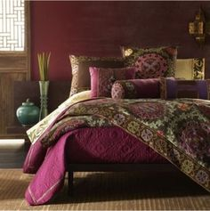 Boho/Eclectic ~ Tribal threads varying in colour, pattern and fabric translated into personal expression with a hit of elegance.  Shades of plums & purples mixed with contrasting tones.....makes this exotic bekdroom chic.