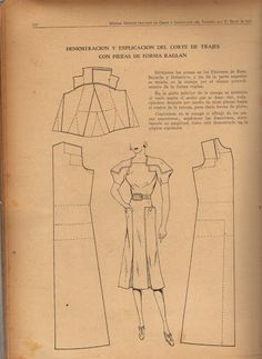 Vintage 1930s 1940s Dress Pattern Draft
