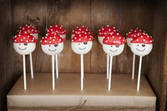 Pirate cake pops. We love this bright red and white color palette for a pirate party.