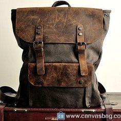 Genuine leather backpack  Leather Briefcase  leather Messenger bag  Laptop bag   Unisex leather canvas Bag