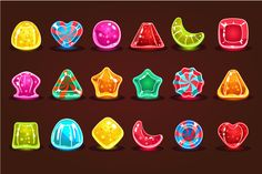 Bright cartoon candies for game by TopVectors on Creative Market