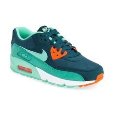 Nike 'Air Max 90' Sneaker ($110) ❤ liked on Polyvore featuring shoes, sneakers, chunky shoes, nike, cushioned shoes, leather sneakers and nike footwear