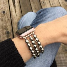 BandyLand™ Apple Watch Band - 38mm or 42mm, featuring silver chrome beads. Custom-made to fit, no-clasp, stretches over hand for easy wear.