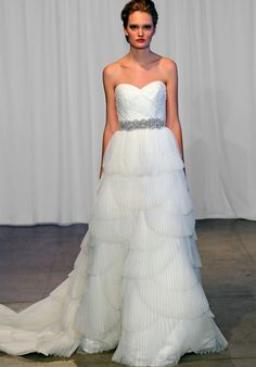 Organza ball gown with pleated scalloping wedding dress // Miley by Kelly Faetanini