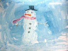 DIY KIds Winter Craft | Snowman Wax Resist Painting